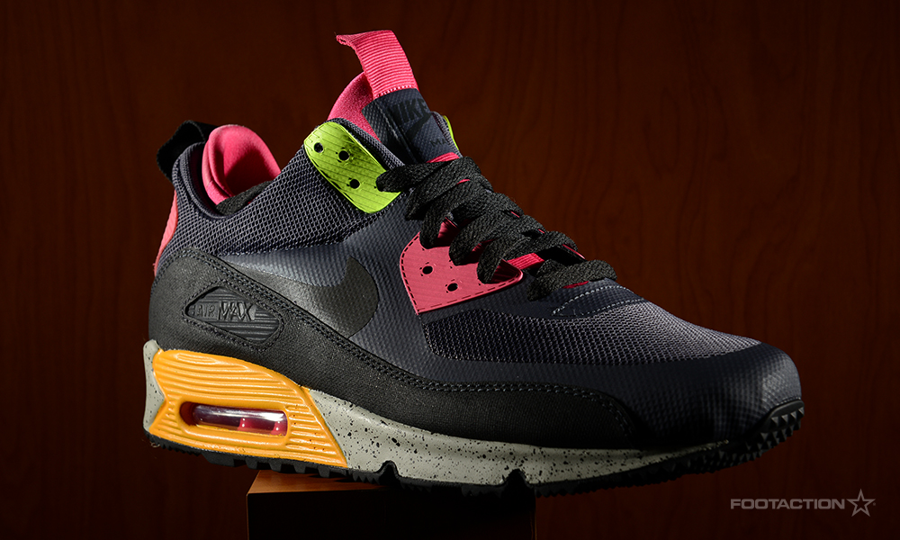 newest fc51c 7c665 Nike Air Max 90 Sneakerboots (Gridiron Pink Force Volt   Black Dark Grey  Silver Blue). airmax90sneakerboots- ...