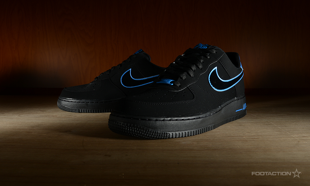 sports shoes dedcc 3bbee FA-NikeAF1LowBlackPhotoBlue-7. The Nike Air Force 1 Low is a classic and  groundbreaking silhouette that arrives in a brand ...